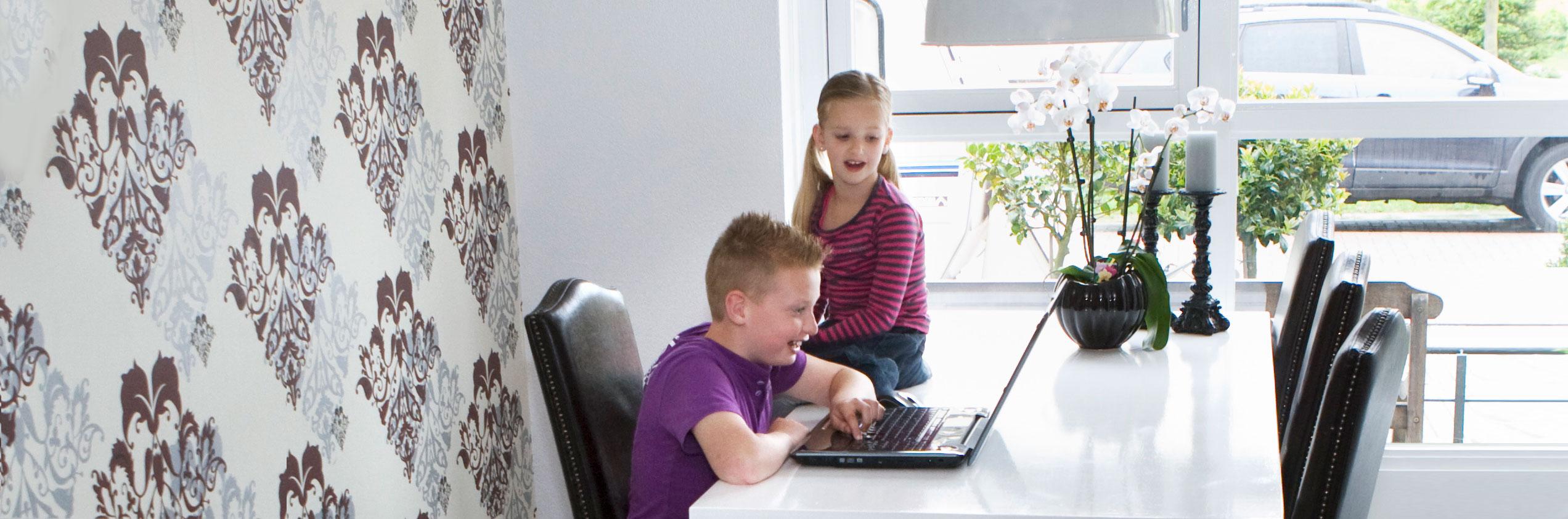 broer en zus kijken naar kind achter laptop